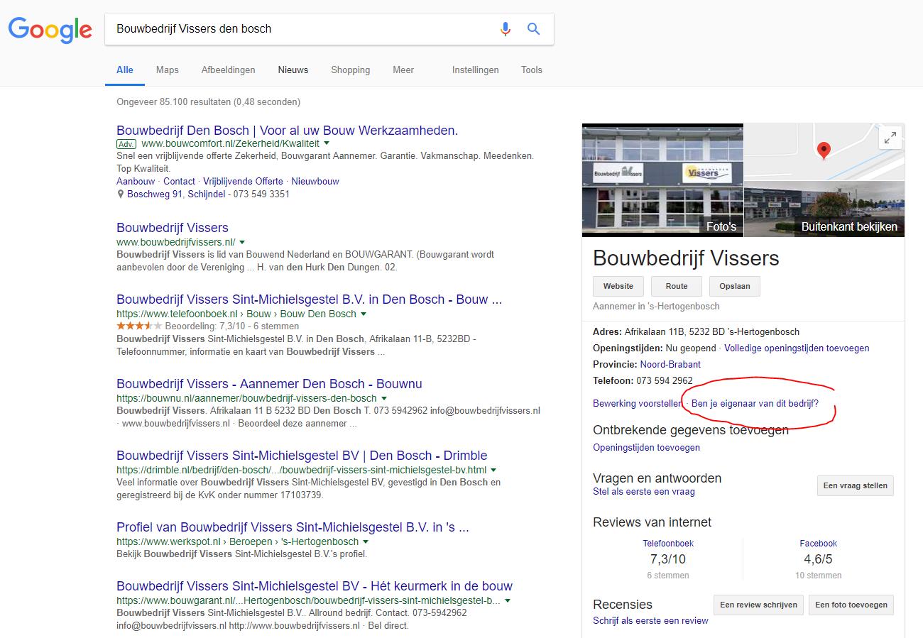 Je bedrijf claimen op Google
