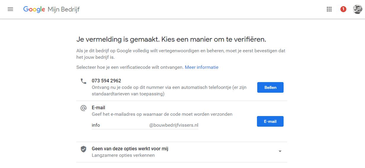 Google Mijn Bedrijf verifieren