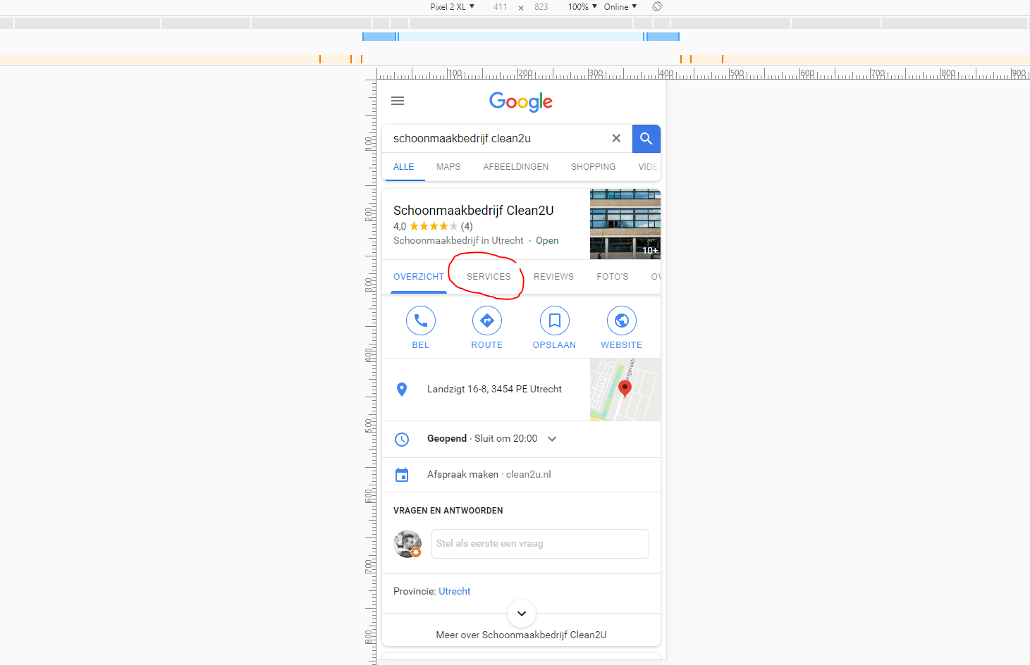 Google Mijn Bedrijf Services op mobiele devices