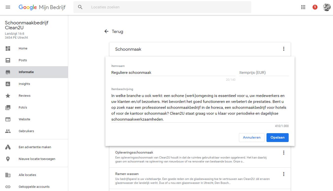 Vanaf nu kun je services specificeren in Google Mijn Bedrijf