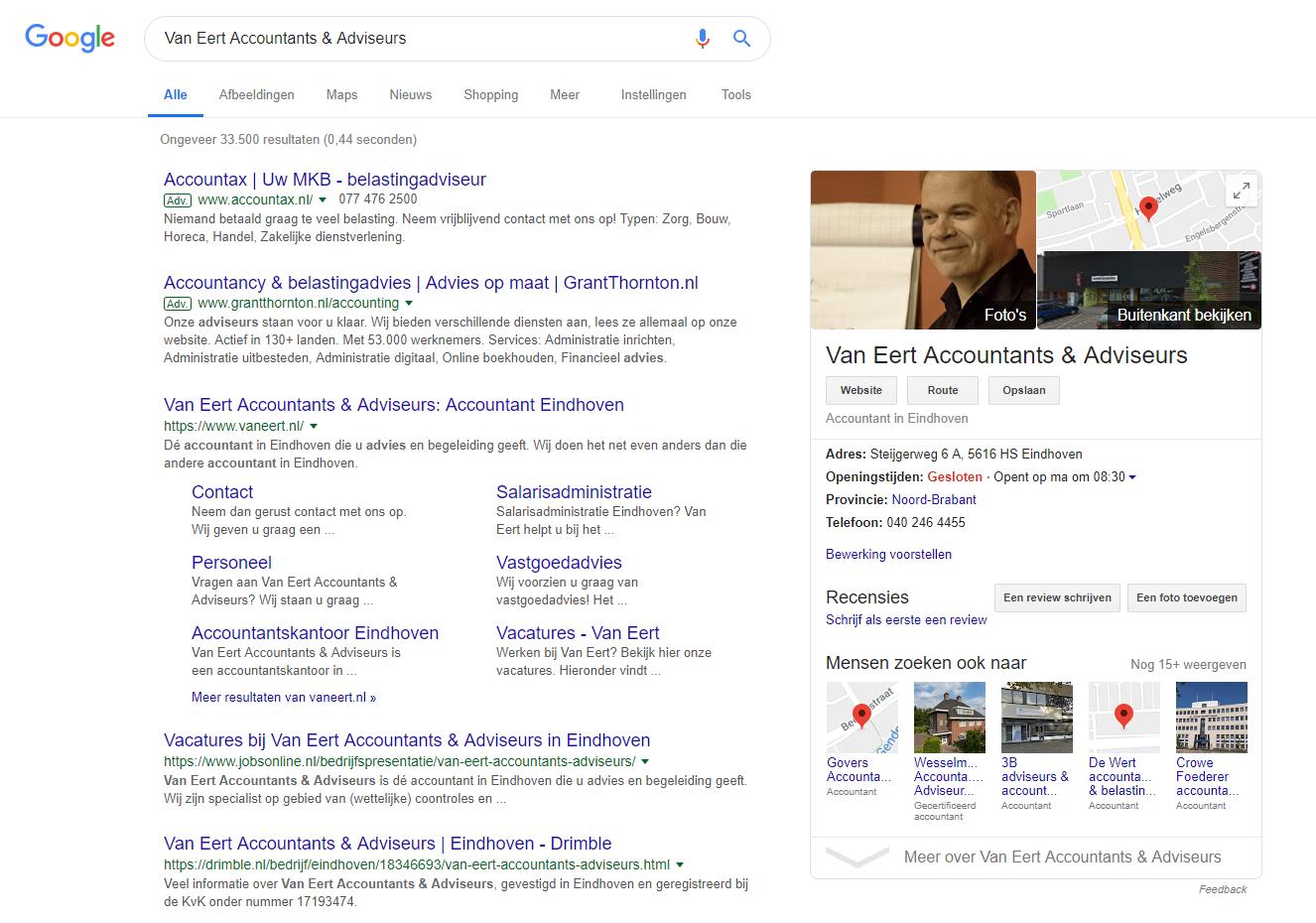 Niet representatieve foto op Google