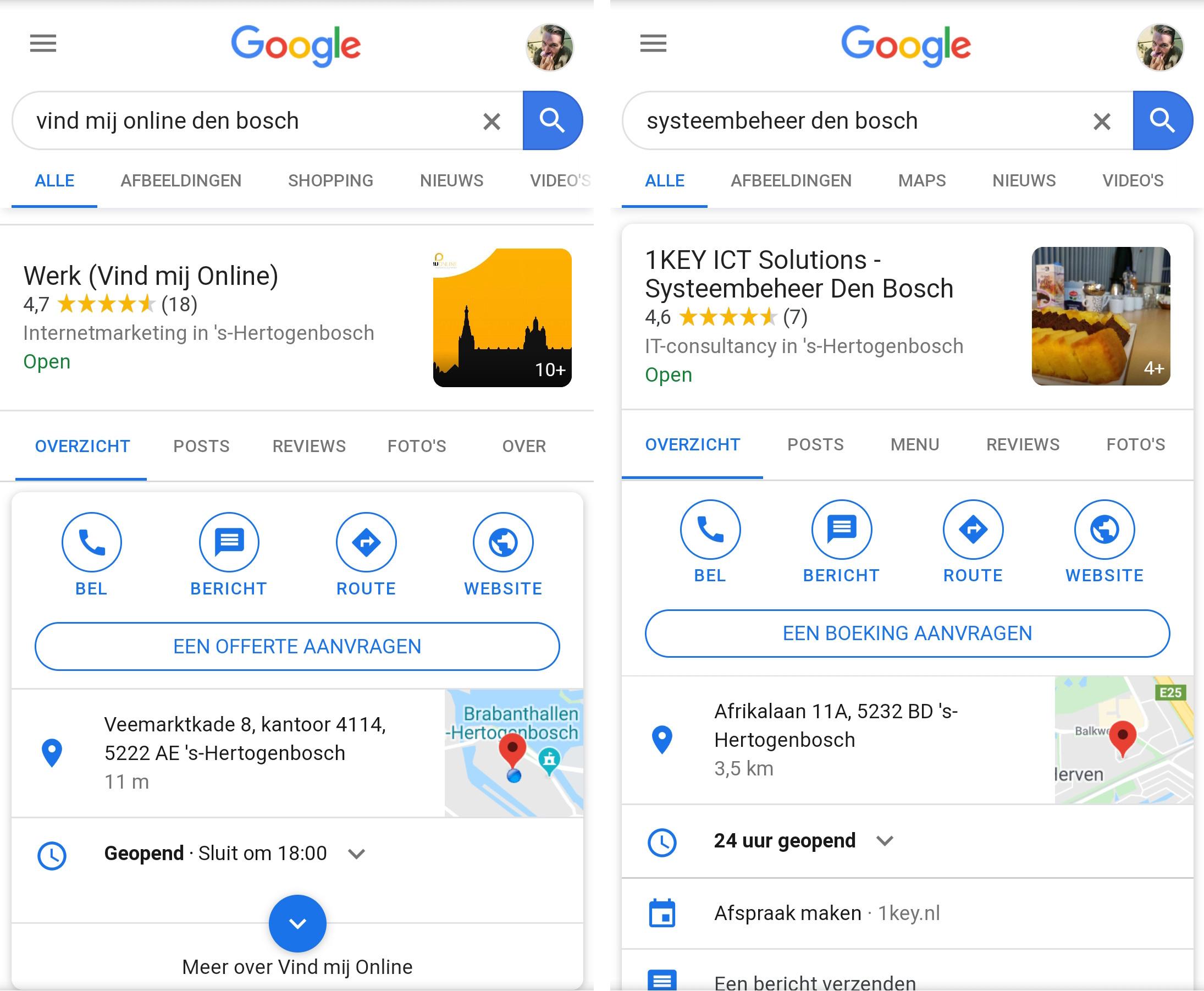Knoppen in Google