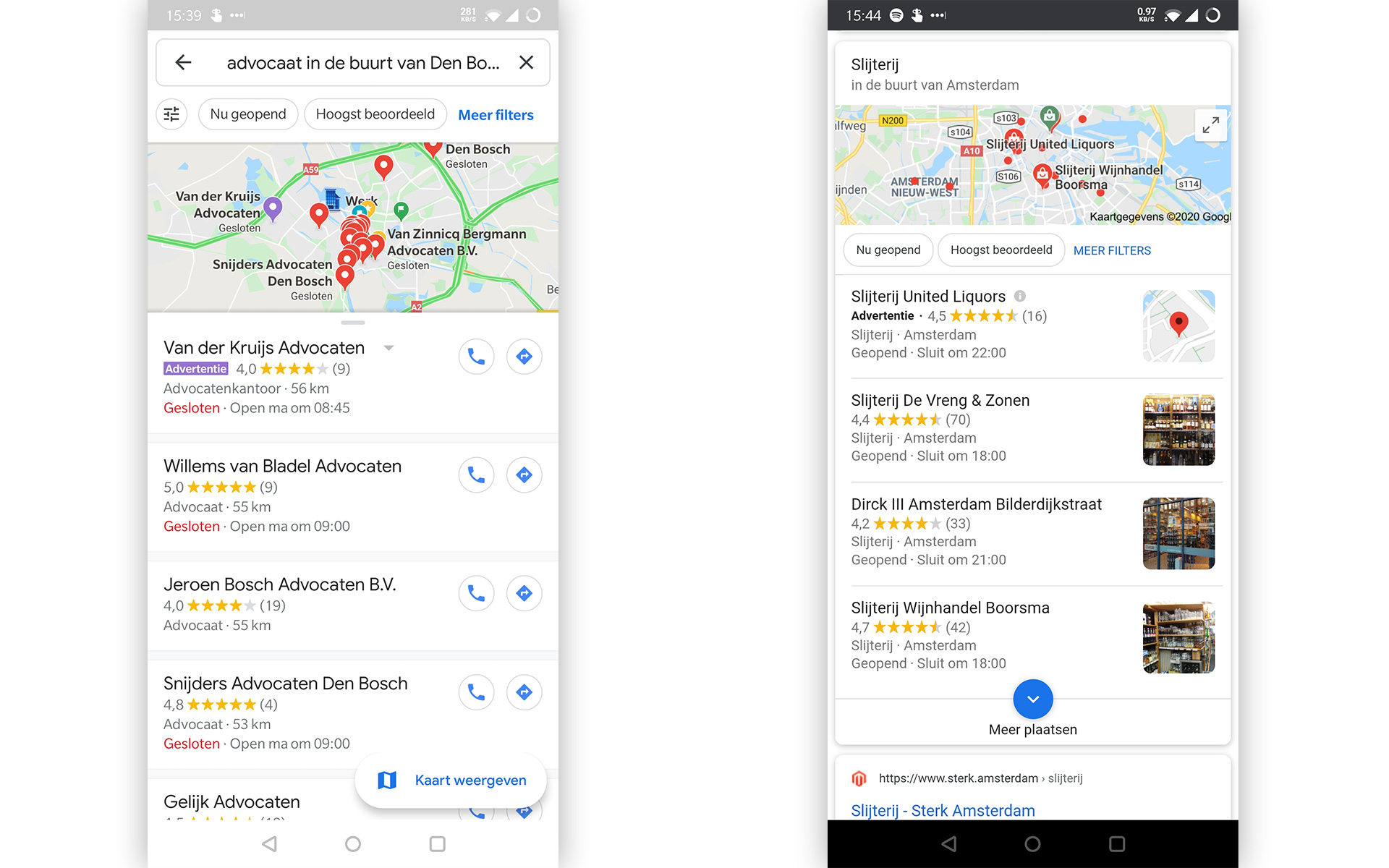 Advertenties in Google Maps app & Google Maps Pack