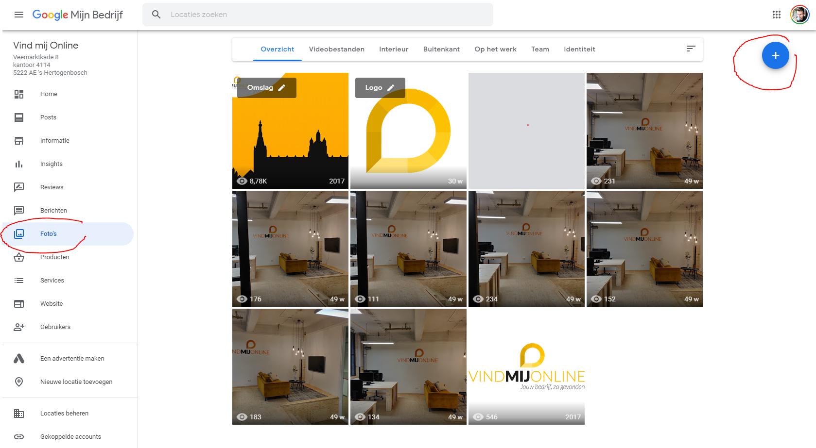 Foto via desktop op Google Mijn Bedrijf uploaden