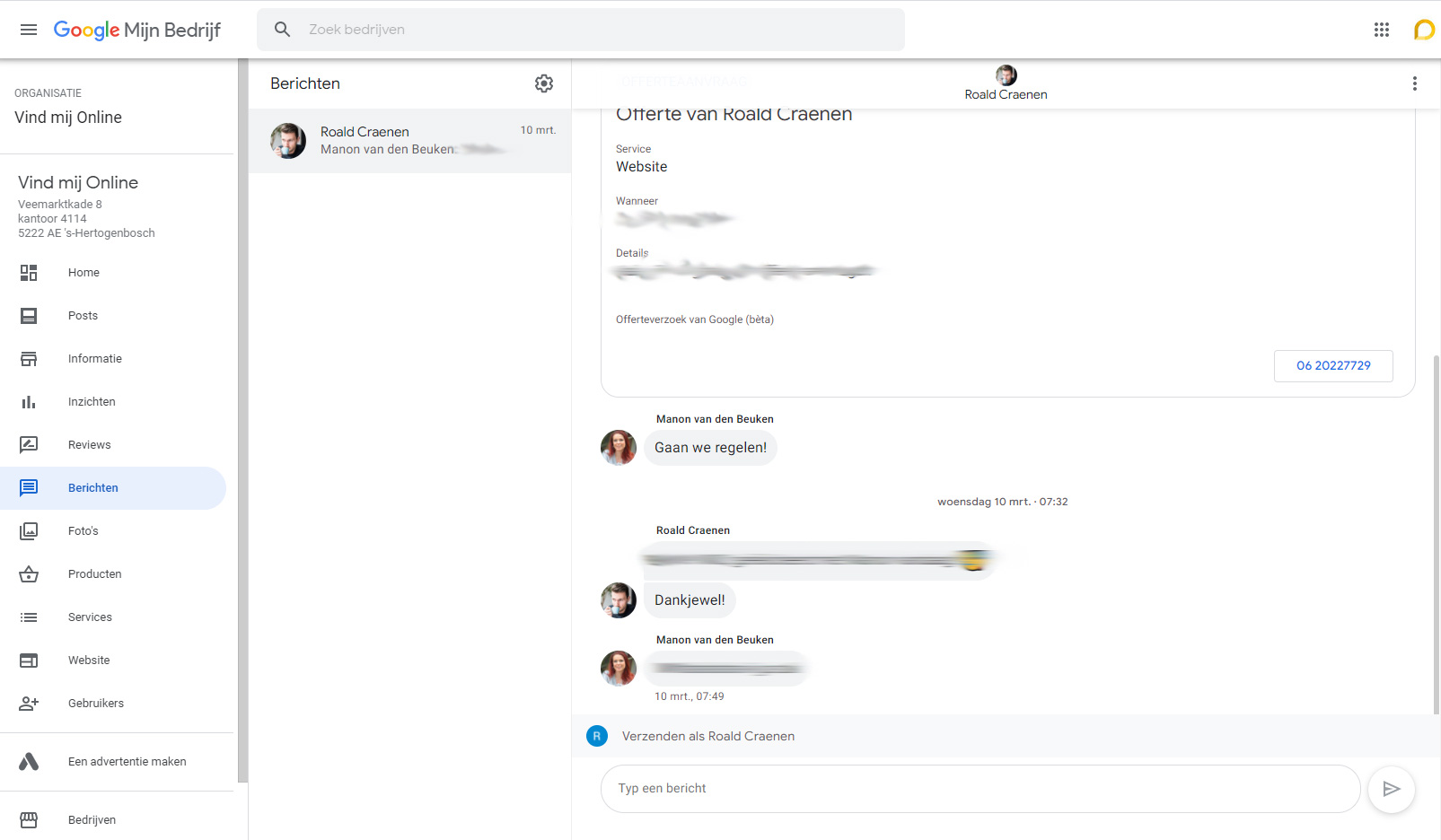 Chatfunctie in Google Mijn Bedrijf
